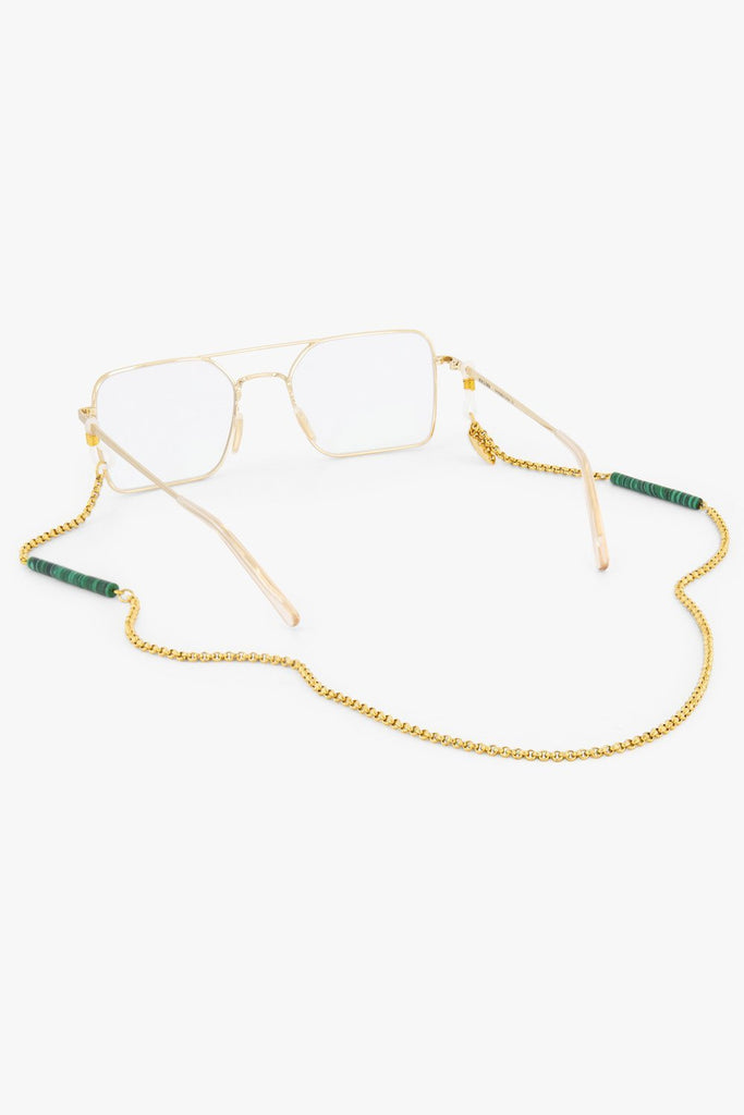 Malachite Sunnycord made of 18K gold-plated chain with Green Malachite gemstones, attached to clear optical glasses.