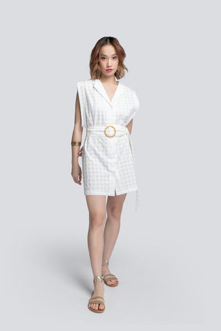 PHOEBE SHORT BELTED COVER UP IN WHITE
