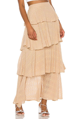 ADRIA SKIRT GEORGETTE CAFE AU LAIT