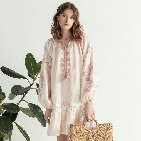 "Light linen boho dress with floral embroidery ""Jungle Light"""