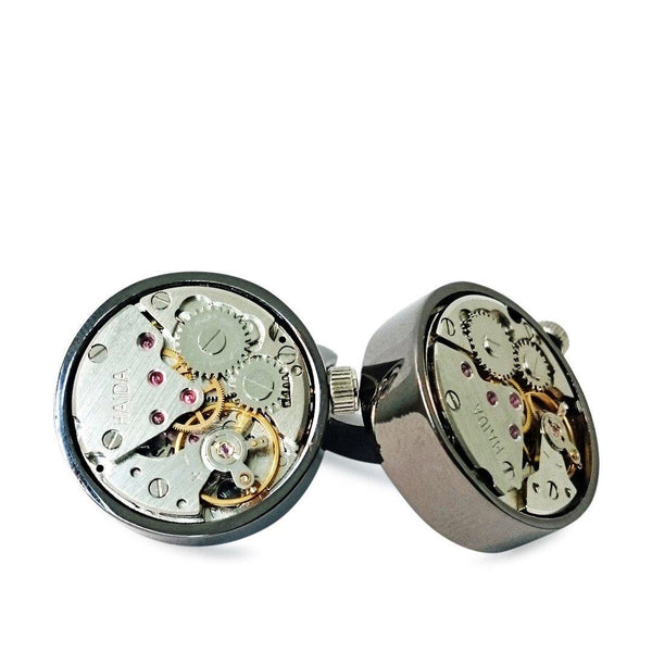 GUN METAL AUTOMATIC CUFFLINKS