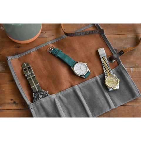 Khaki & Tan Waxed Canvas & Velvet Watch Roll - Four Slots - The Sydney Strap Co.