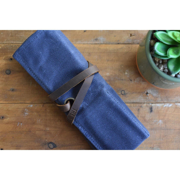 Navy & Taupe Waxed Canvas & Velvet Watch Roll - Four Slots - The Sydney Strap Co.