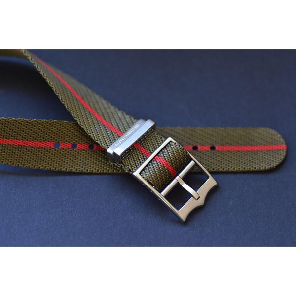SINGLE PASS-OLIVE & RED - The Sydney Strap Co.