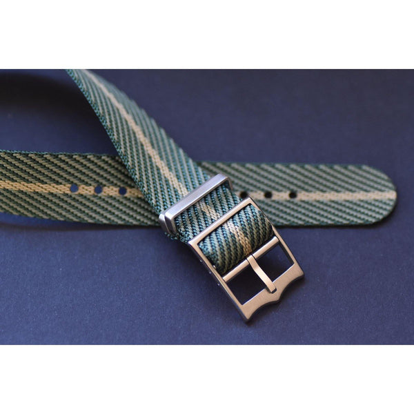 SINGLE PASS-GREEN & BEIGE - The Sydney Strap Co.