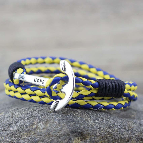 BLUE / YELLOW LEATHER ANCHOR BRACELET - The Sydney Strap Co.