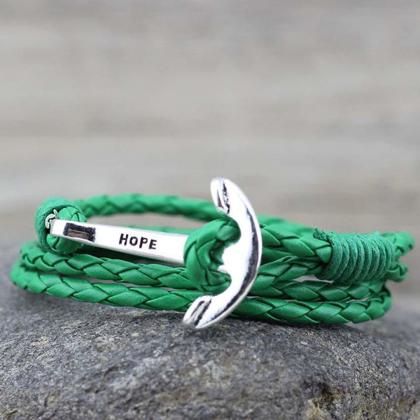 GREEN LEATHER ANCHOR BRACELET