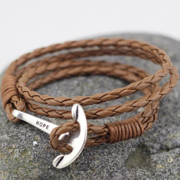 TAN LEATHER ANCHOR BRACELET