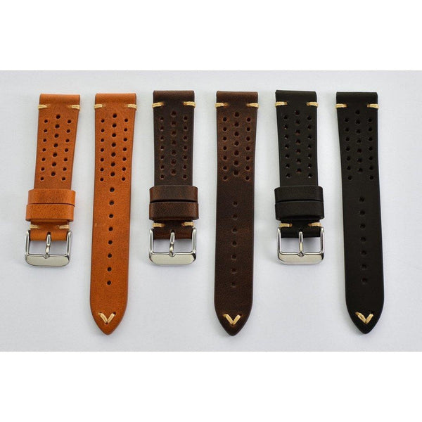 DARK BROWN PERFORATED RALLY - The Sydney Strap Co.