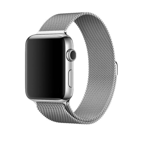 SILVER MILANESE APPLE WATCH BAND