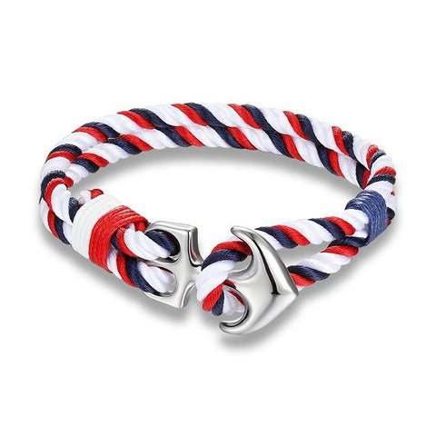 THICK ROPE ANCHOR-WHITE NAVY RED - The Sydney Strap Co.
