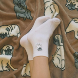 PUPPY LOVE EMBROIDERY SOCKS WHITE (SELECT DOGGO)