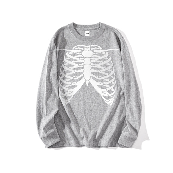 BONE GLOW IN THE DARK LONG SLEEVE T-SHIRT - MJN ORIGINALS