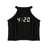 4:20 GLOW IN THE DARK CROP TANK SHIRT - MJN ORIGINALS