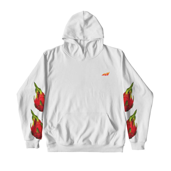 FLAME DRAGON FRUIT HOODIE WHITE - MJN ORIGINALS