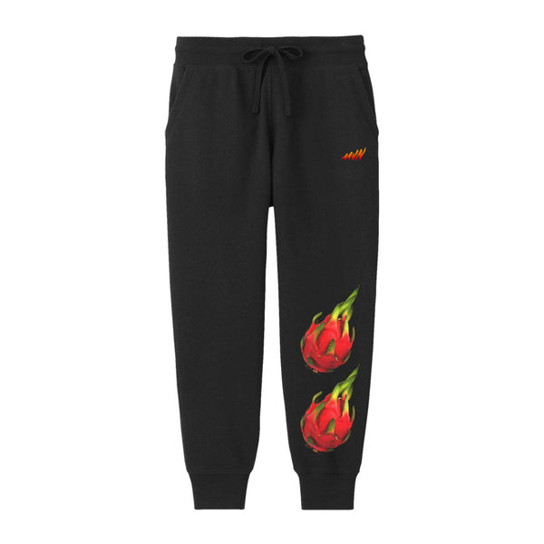 FLAME DRAGON FRUIT SWEATPANTS BLACK - MJN ORIGINALS