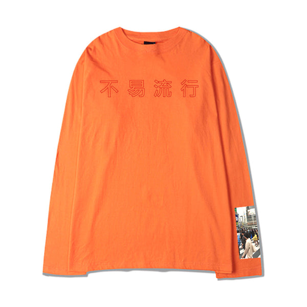 FASHION KILLA SHIBUYA LONG SLEEVE T-SHIRT ORANGE - MJN ORIGINALS
