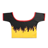 FLAME CROP TOP BLACK - MJN ORIGINALS