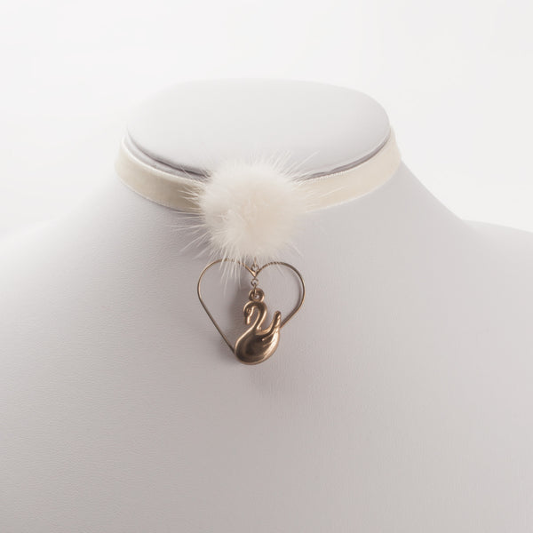 GOLD SWAN CHOKER WITH VILLUS-BALL (CLICK FOR 2 COLORS)