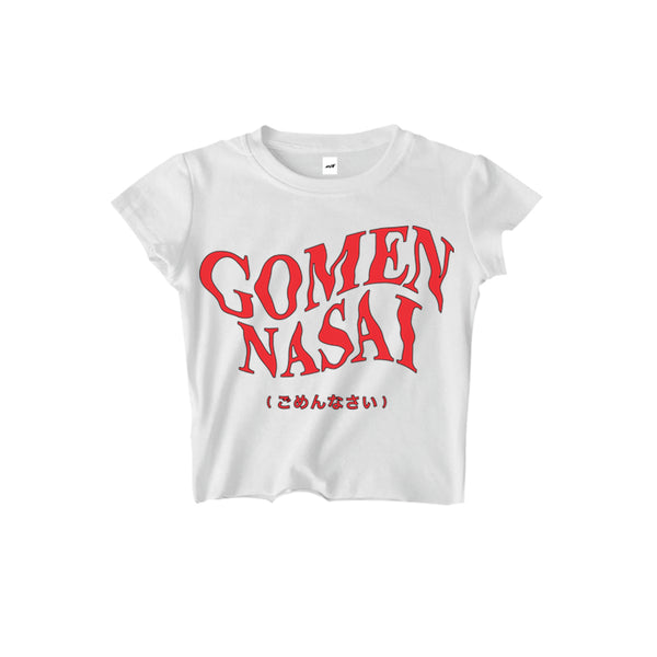 GOMENNASAI (Sorry) CROPPED TEE WHITE - MJN ORIGINALS