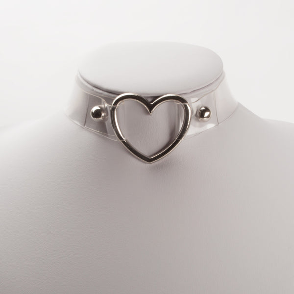 HEART LEATHER CHOKER TRANSPARENT