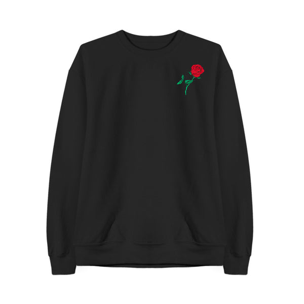 THE ROSE EMBROIDERED SWEATSHIRT BLACK - MJN ORIGINALS