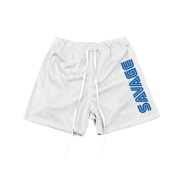 SAVAGE MESH SHORTS WHITE - MJN ORIGINALS