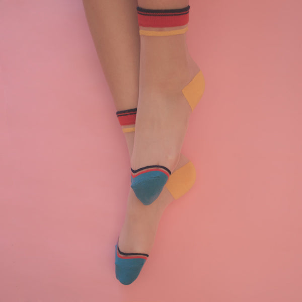 SHEER PATTERNED COLORFUL SOCKS (CLICK FOR MORE COLORS)