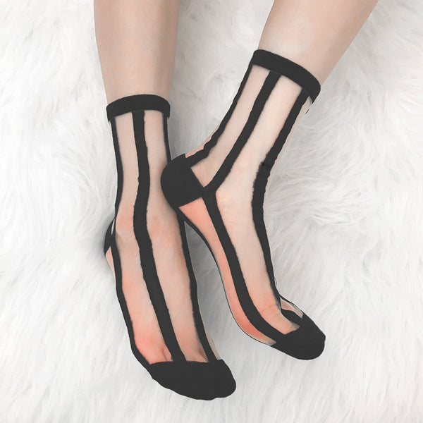 SHEER VERTICAL STRIPED SOCKS (CLICK FOR 2 COLORS)