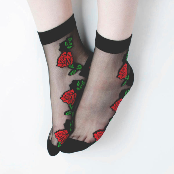 CLEAR ROSE SOCKS BLACK