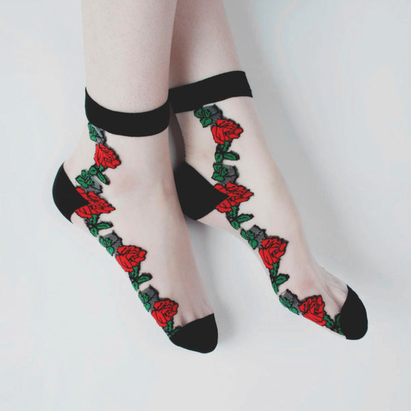 CLEAR ROSE SOCKS WHITE