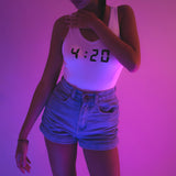 4:20 REFLECTIVE BODYSUIT WHITE - MJN ORIGINALS