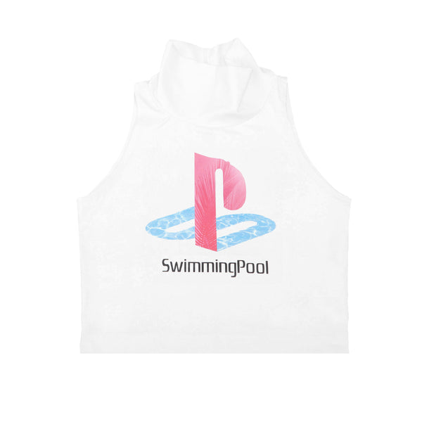 SWIMMING POOL SLEEVELESS TURTLENECK CROP TANK SHIRT WHITE - MJN ORIGINALS