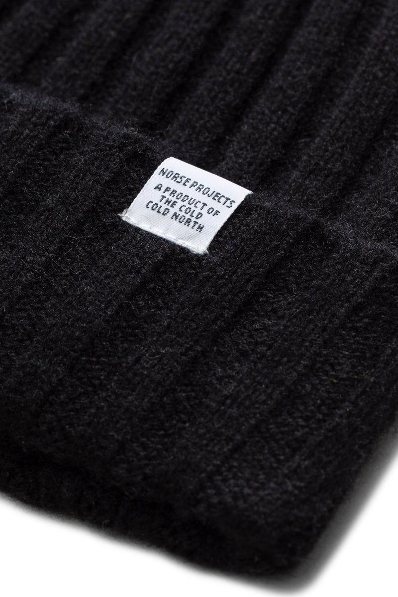 NORSE PROJECTS Cashwool Rib Beanie Black | HAVN