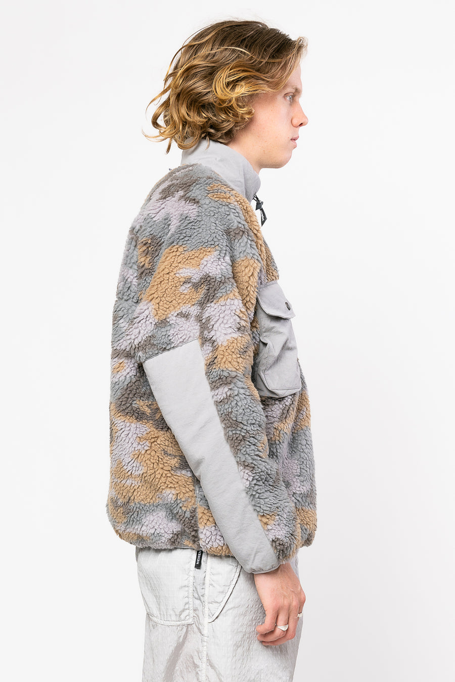 AND WANDER Jacquard Boa Jacket Gray | HAVN
