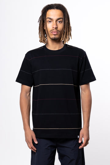 Norse Projects Johannes Thin Stripe Tee Black | HAVN