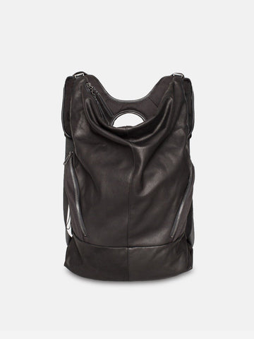 côte&ciel Timsah Alias Leather Black Agate Backpack | HAVN