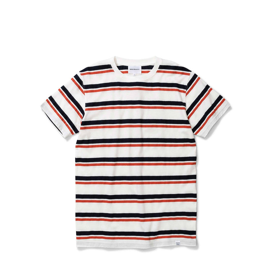Niels Pique Stripe Pumkin Orange/Fark Navy Stripe T-Shirt