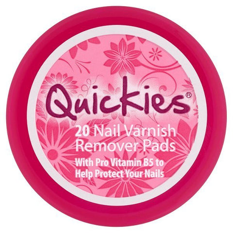 Quickies Nail Varnish Remover Pads 20 - Travel Toiletries 2 Go