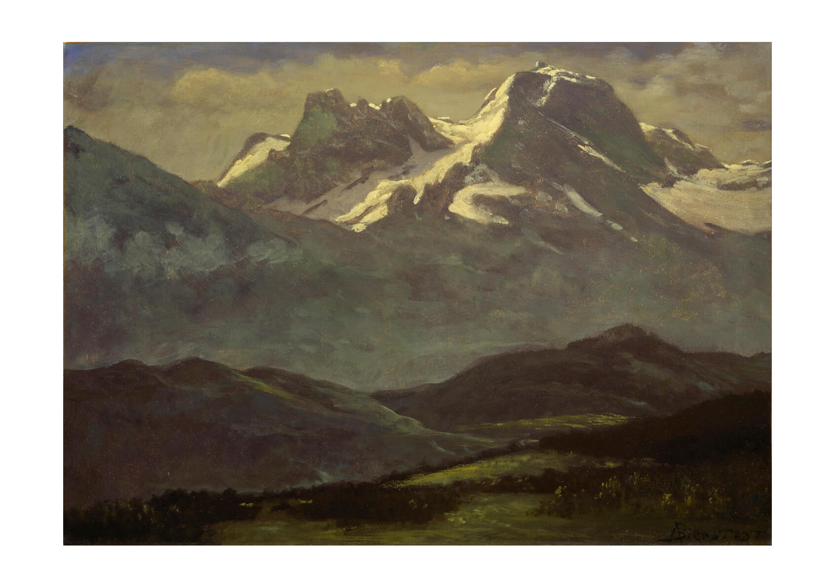 Albert Bierstadt - Summer Snow on the Peaks or Snow Capped Mountains