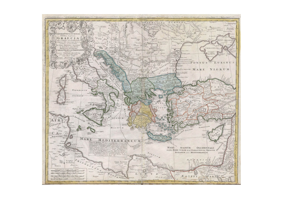 Ancient Greece mediterranean Map Homann Heirs 1741