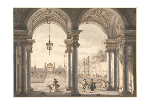 Canaletto - View through a Baroque Colonnade into a Garden