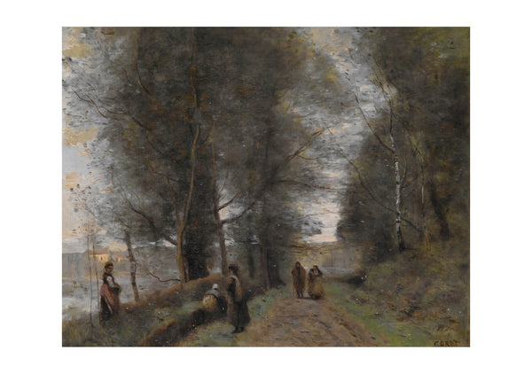 Corot Jean Baptiste Camille Ville d'Avray Woodland Path Bordering the Pond