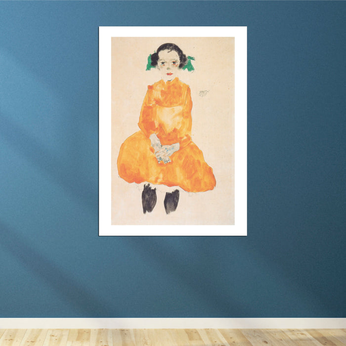 Egon Schiele - Girl in Orange Dress