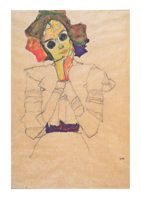Egon Schiele - Girl with yellow and orange