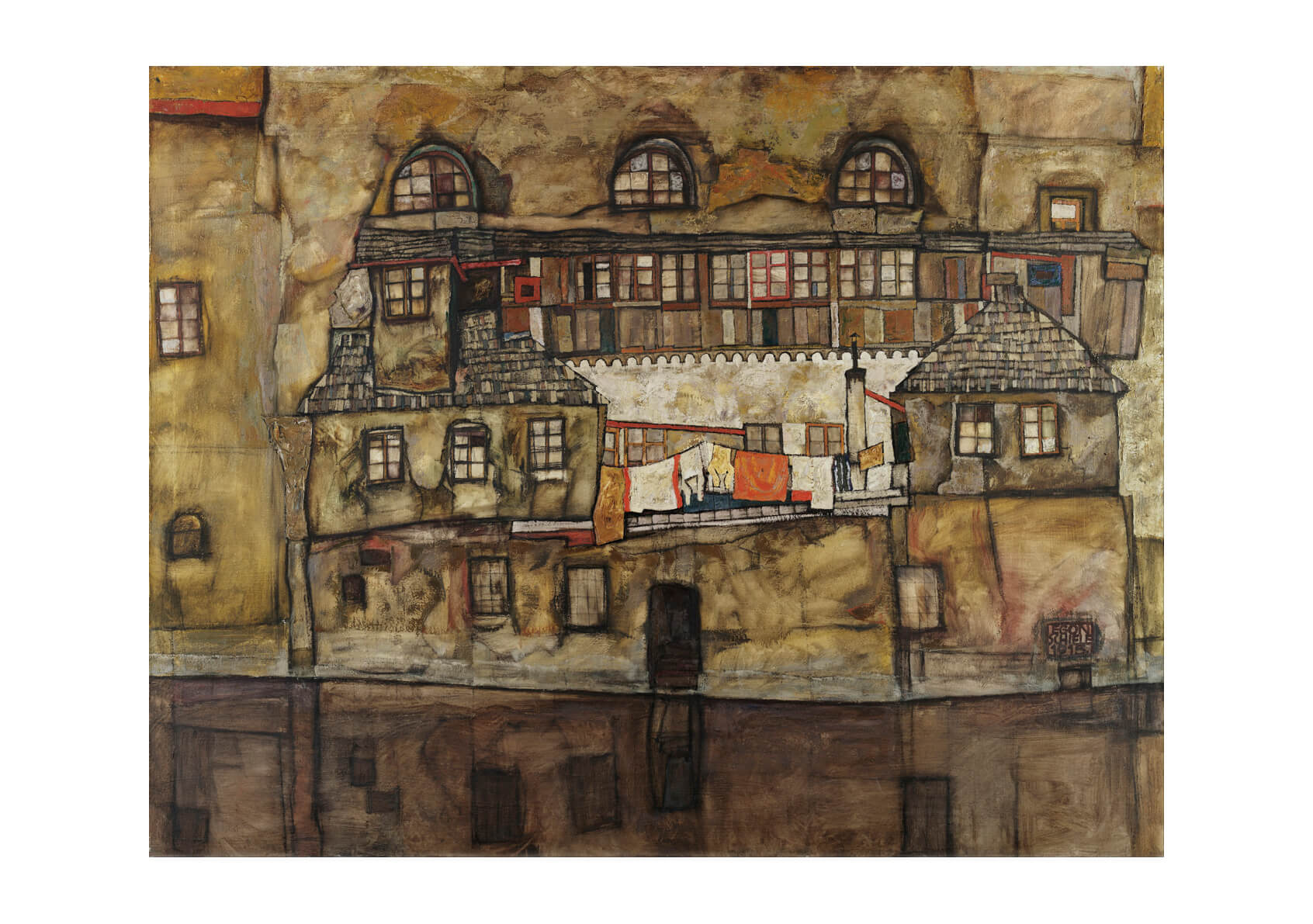 Egon Schiele - House Wall On The River