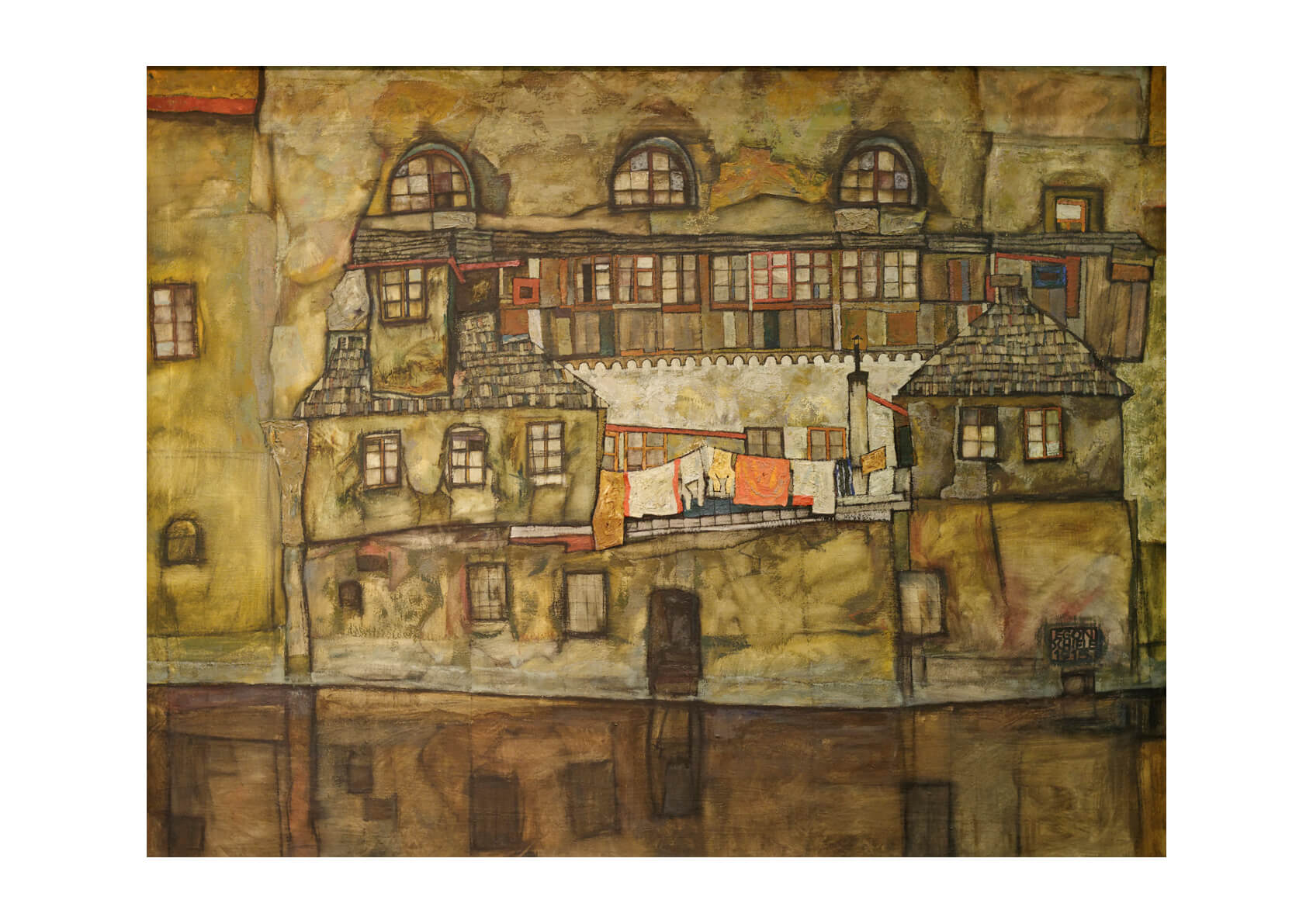 Egon Schiele - House Wall on the River 1915