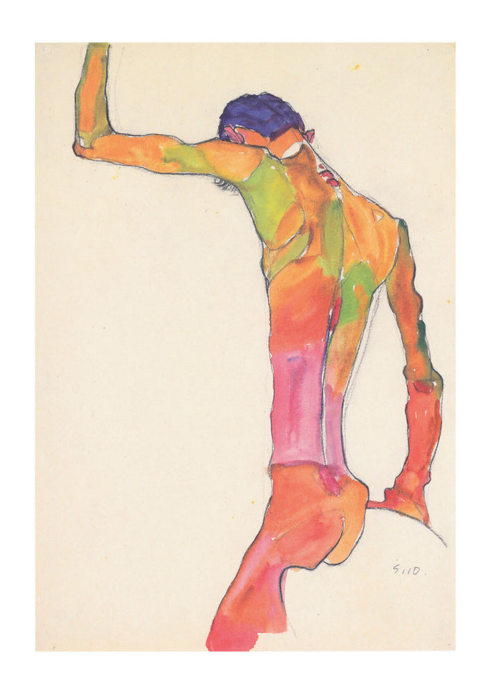 Egon Schiele - Male Nude Back