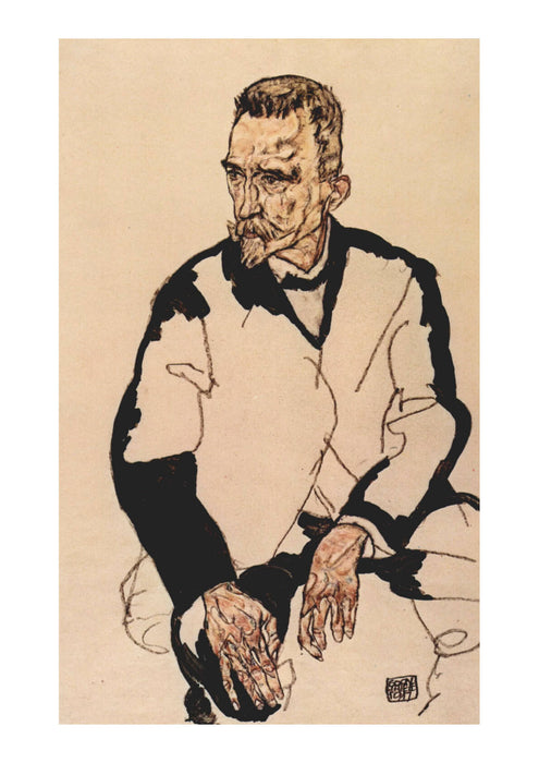 Egon Schiele - Man looking over Right Shoulder
