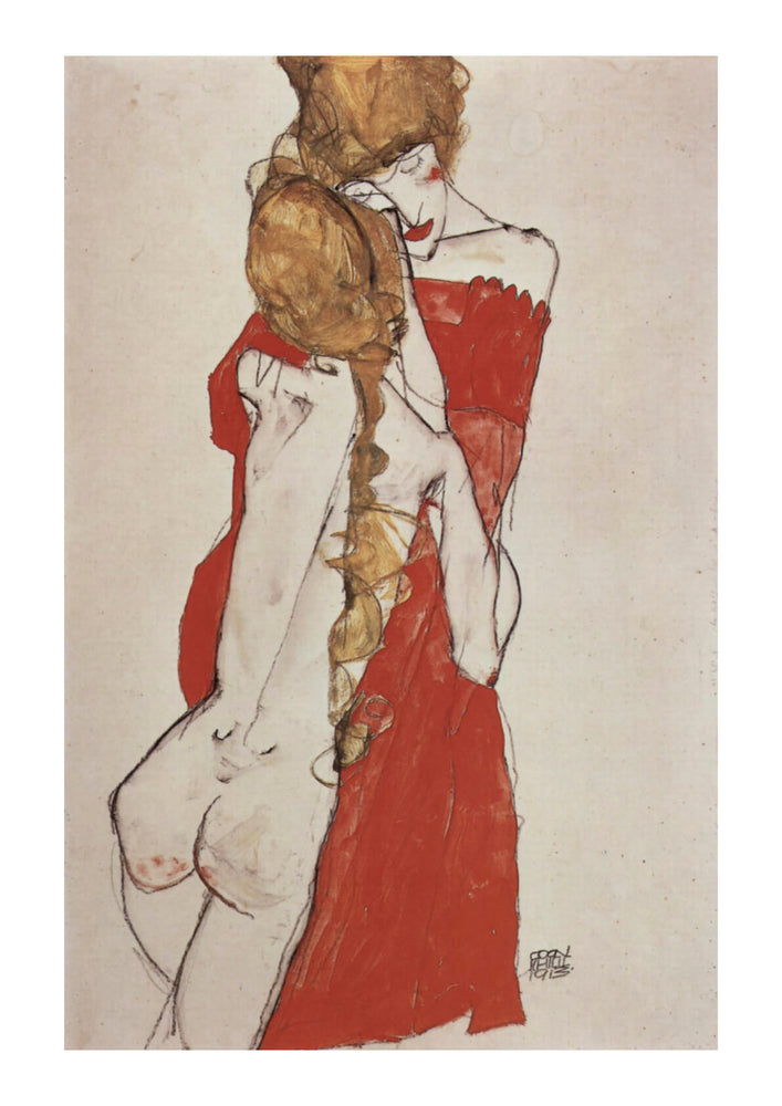 Egon Schiele - One in Red One in Nothing